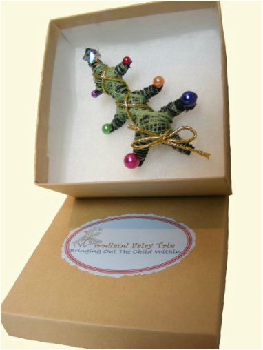 Picture of Woodland fairy Tale Christmas Tree Brooch in a Gift Box