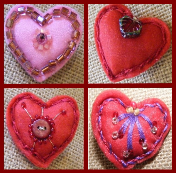 Felt and Beaded Heart Brooches