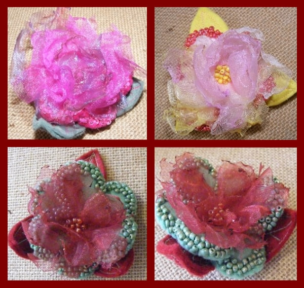 PictureFelt and Voile Peony Brooches