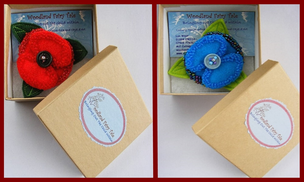 Felt and Beaded Poppy Brooches in Gift Box