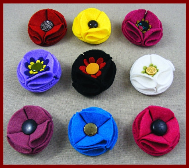 Small Felt Flower Brooches